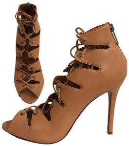 SCHUTZ Leather Sandal Pump Gladiator Caged Brown Tan Boots