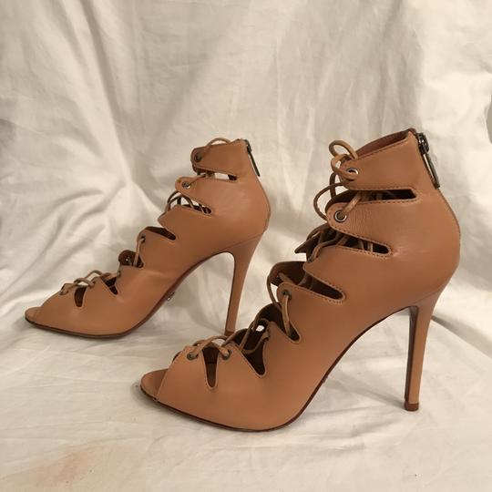 SCHUTZ Leather Sandal Pump Gladiator Caged Brown Tan Boots Image 1