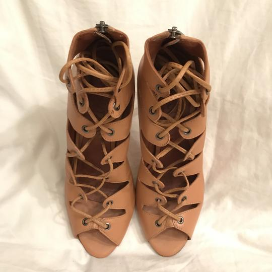 SCHUTZ Leather Sandal Pump Gladiator Caged Brown Tan Boots Image 2