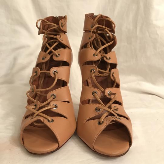 SCHUTZ Leather Sandal Pump Gladiator Caged Brown Tan Boots Image 3