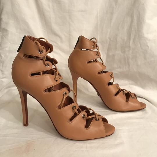 SCHUTZ Leather Sandal Pump Gladiator Caged Brown Tan Boots Image 4