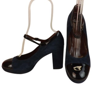 Marc by Marc Jacobs Ankle Strap Classic Heels Navy Patent Blue Pumps
