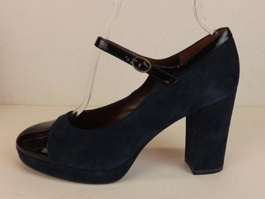 Marc by Marc Jacobs Ankle Strap Classic Heels Navy Patent Blue Pumps Image 2
