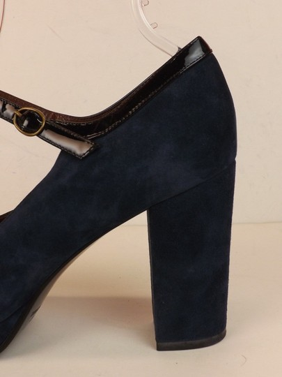 Marc by Marc Jacobs Ankle Strap Classic Heels Navy Patent Blue Pumps Image 6