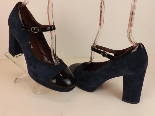 Marc by Marc Jacobs Ankle Strap Classic Heels Navy Patent Blue Pumps Image 7