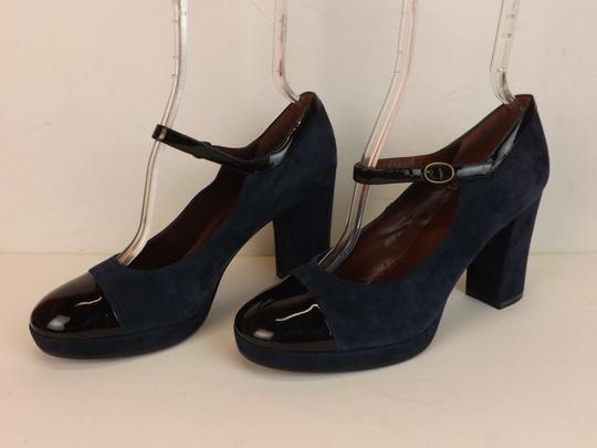 Marc by Marc Jacobs Ankle Strap Classic Heels Navy Patent Blue Pumps Image 8