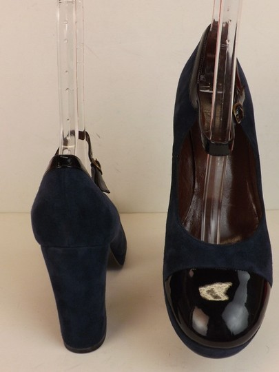 Marc by Marc Jacobs Ankle Strap Classic Heels Navy Patent Blue Pumps Image 9