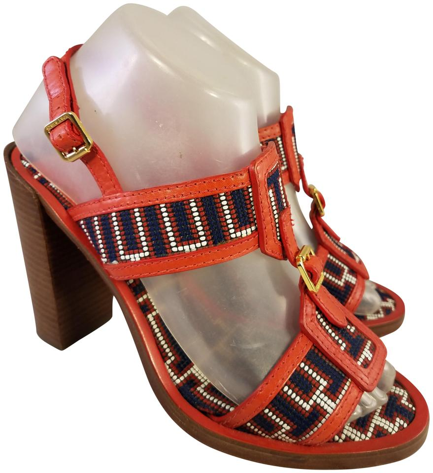 c760b7eeb72b Tory Burch Red Beaded Uppers and Footbed Rare Style Sandals Size US ...