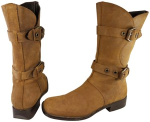 Donald J. Pliner Woman Riding Motorcycle Italian BROWN Boots