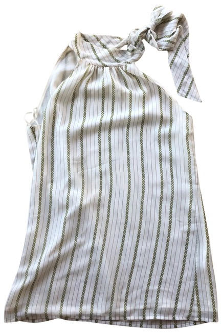 Item - White and Cream Neck Tie Turtleneck Mid-length Short Casual Dress Size 4 (S)