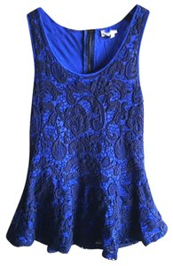 Anthropologie Swingy Tank Lace Overlay Partial Back Zip Cool + Sleeveless Dress Up Or Down Top Blue