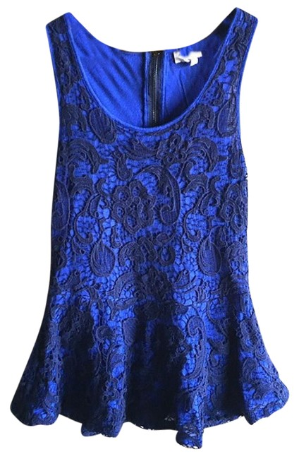 Preload https://img-static.tradesy.com/item/23873987/anthropologie-blue-lace-overlay-blouse-size-4-s-0-3-650-650.jpg