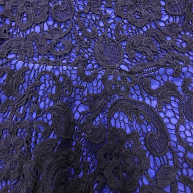 Anthropologie Swingy Tank Lace Overlay Partial Back Zip Cool + Sleeveless Dress Up Or Down Top Blue Image 1