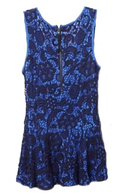 Anthropologie Swingy Tank Lace Overlay Partial Back Zip Cool + Sleeveless Dress Up Or Down Top Blue Image 2