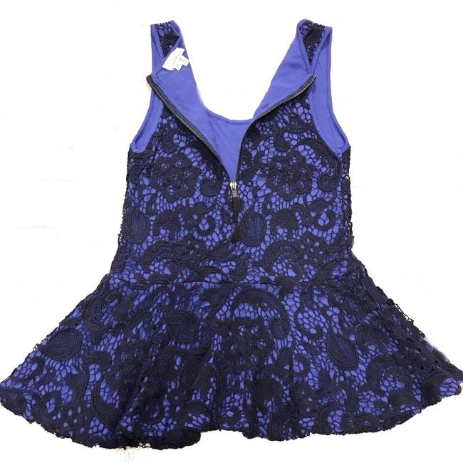 Anthropologie Swingy Tank Lace Overlay Partial Back Zip Cool + Sleeveless Dress Up Or Down Top Blue Image 4