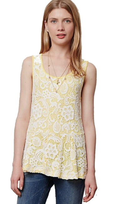 Anthropologie Swingy Tank Lace Overlay Partial Back Zip Cool + Sleeveless Dress Up Or Down Top Blue Image 5
