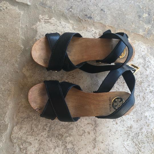Tory Burch Black and Brown Wedges Image 1