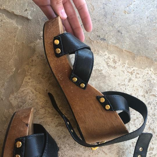 Tory Burch Black and Brown Wedges Image 3