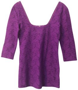 Free People Lace Lace Trim Scoop Back Sheer Top Purple
