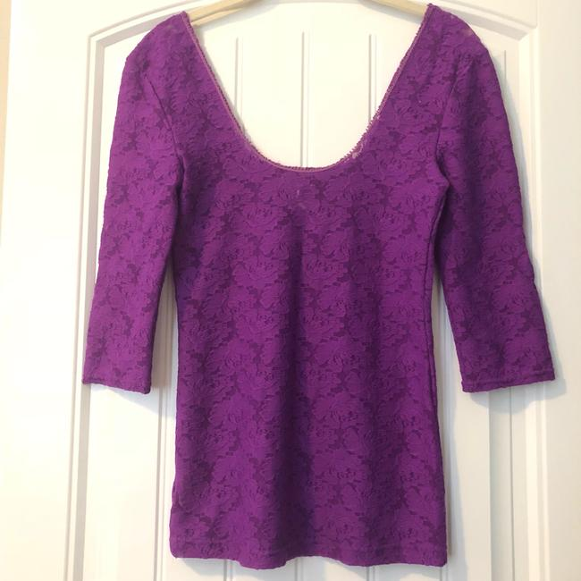 Free People Lace Lace Trim Scoop Back Sheer Top Purple Image 3
