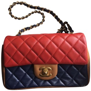 afb87a0b1d35 Chanel Classic Flap Coco Red / Navy / Light Brown Lambskin Leather ...