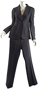 Christian Lacroix CHRISTIAN LACROIX Black Wool Blend Multi Pinstripe Pantsuit Fun Lining