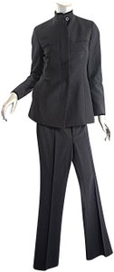 Gucci GUCCI Black 100% Fleeced Wool Pantsuit Shaped Jacket Straight Leg Pant