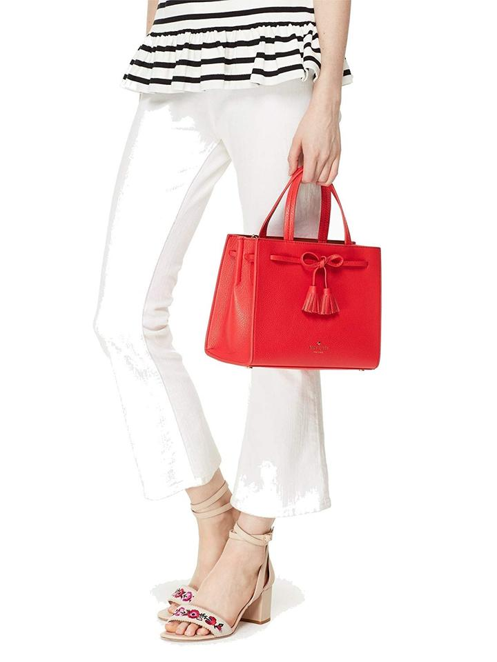6f3ca6f6f Kate Spade Pxru7598 Small Isobel Satchel/Messenger Pebbled Leather Rosso  (Red) Messenger Bag ...