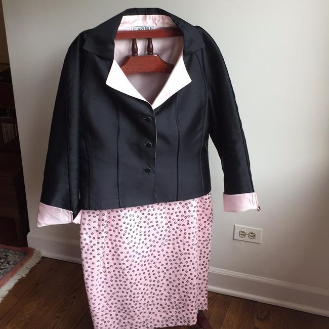 Carlisle Black and Baby Pink Skirt Suit Size 14 (L) Carlisle Black and Baby Pink Skirt Suit Size 14 (L) Image 2