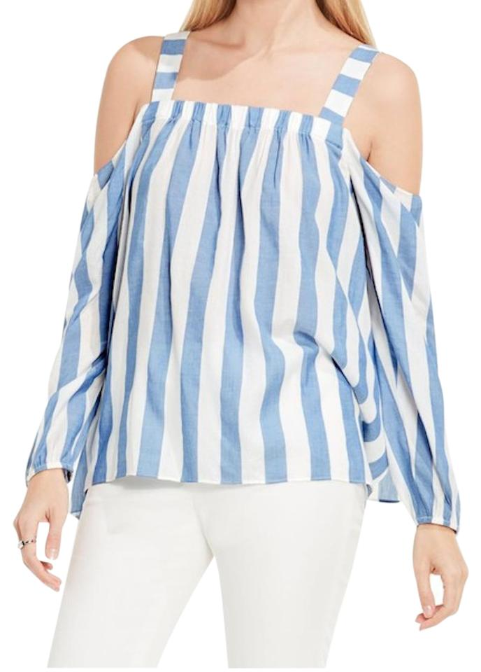 c7373c7b2f516c Vince Camuto Cold Shoulder   White + White And White Stripes Top Stormy Blue  Image 0 ...