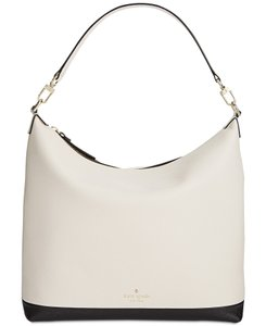 Kate Spade Color-blocking Black Cross Hatch Leather Hobo Bag
