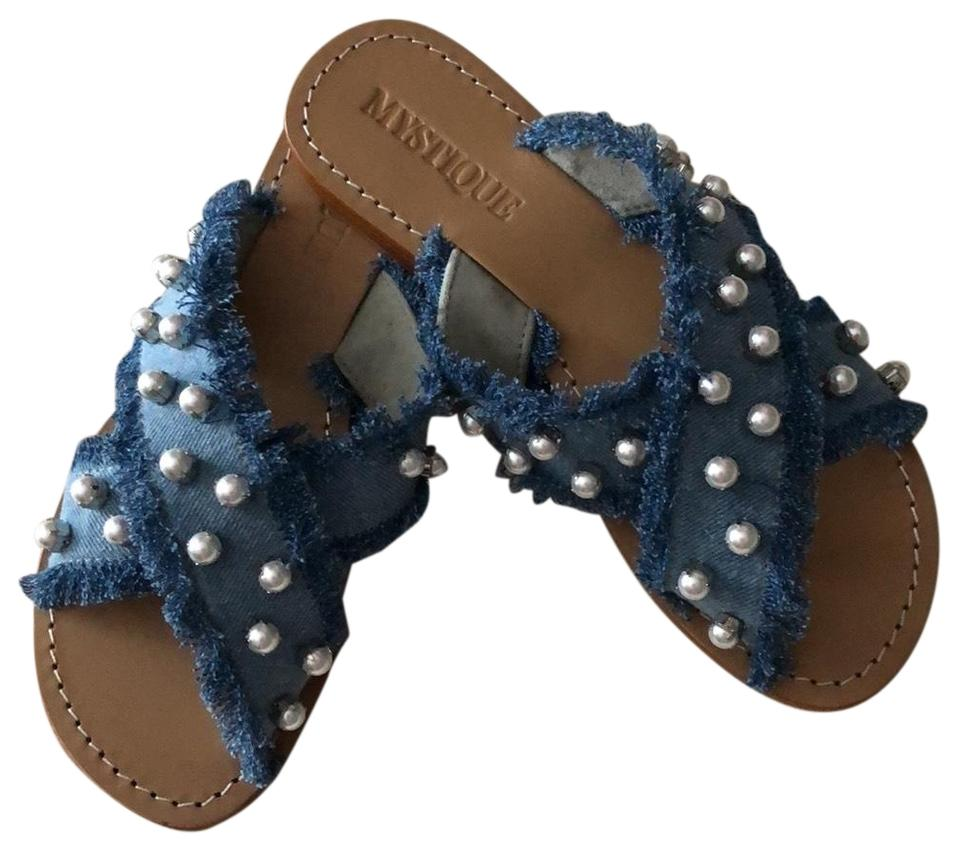 Mystique Boutique Blue Denim and Pearl Sandals Size US 9 Regular (M ...
