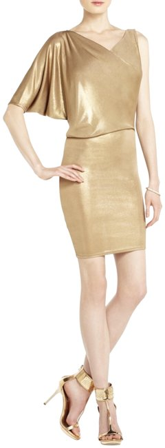 Item - Gold Max Casual Work Formal Xsmall Mid-length Cocktail Dress Size 2 (XS)