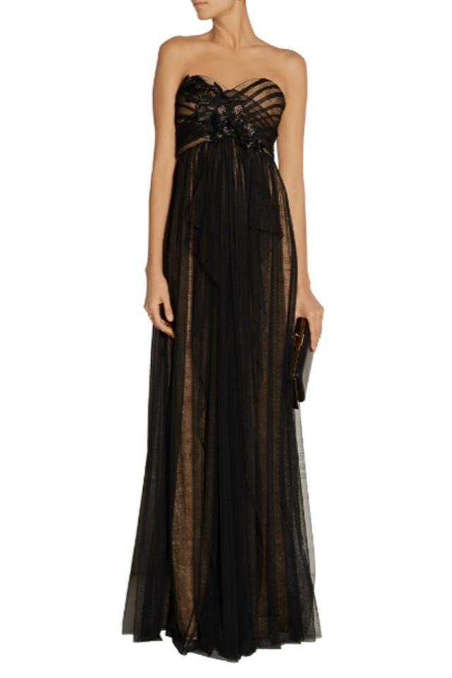 ac95fdde6a06 Marchesa Notte Black Strapless Lace Gown with Draped Tulle Overlay ...