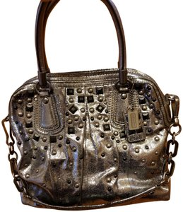 Coach Studded Metallic Rare Limited Edition Tote in Silver