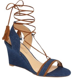 Daya by Zendaya Sandal Fringe Detail Blue Jean Wedges