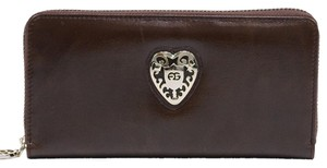 AG Women's Genuine Leather Zip-Around Wallet w/ Gold Kissed Heart Accent