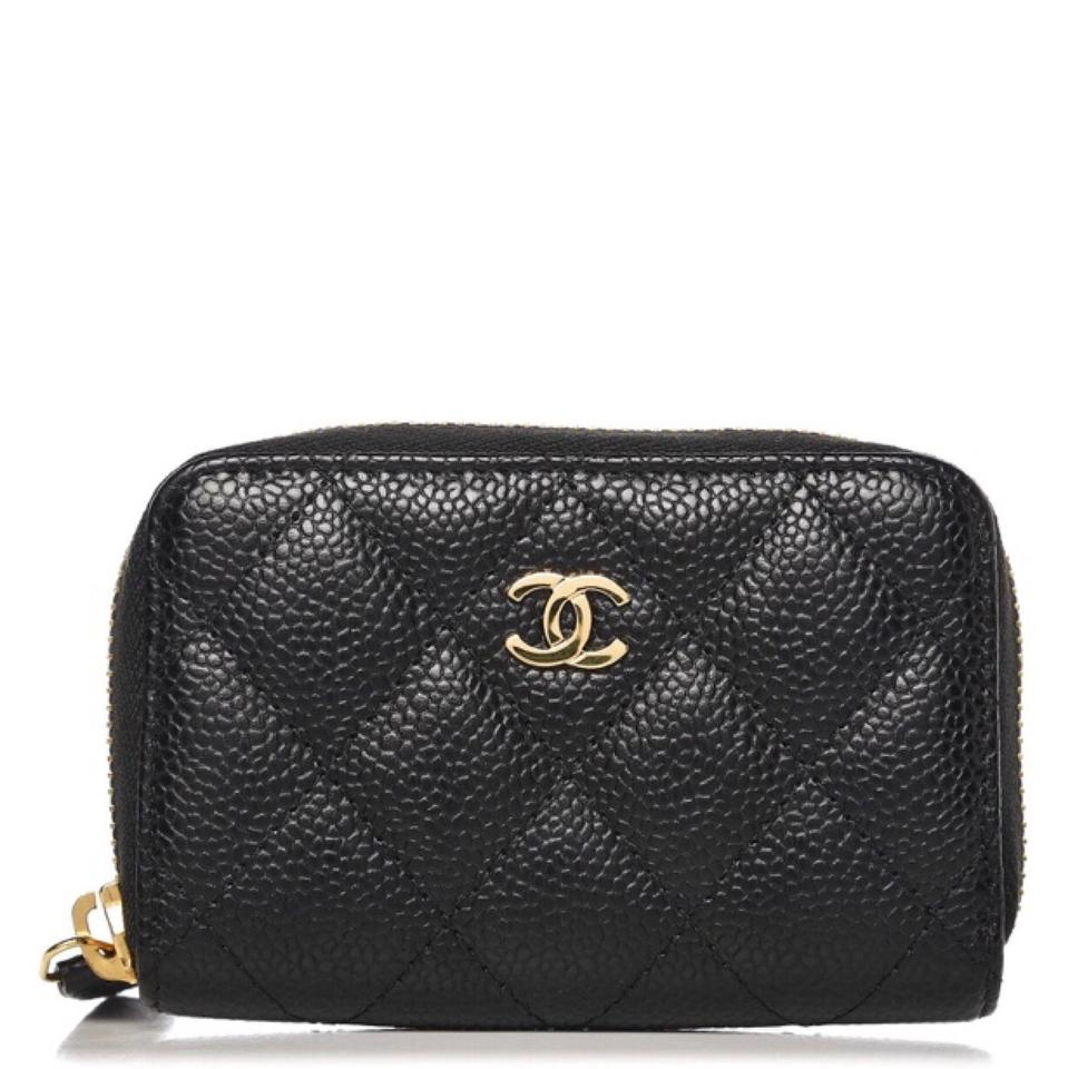 f8564b2f662a Chanel Black/Gold Classic Caviar Quilted Zip Coin Purse Card Case ...