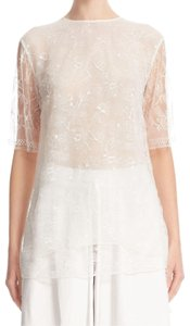 Adam Lippes Lace Chantilly Top Ivory