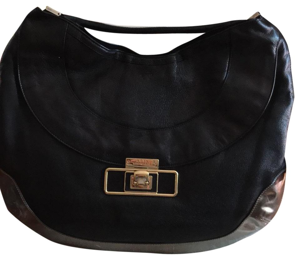 Anya Hindmarch Cooper Black Silver Leather Suede Lining Hobo Bag ... 344d466303164