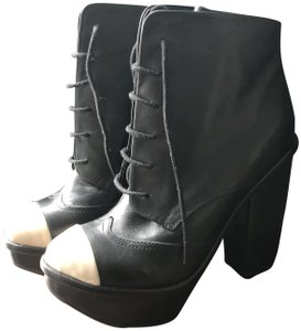 Miista Platform Chunky Toe Cap Leather Statement Black, Ivory Boots