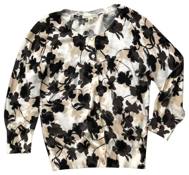 Item - White Black Beige Brown Flowered Oyster Pearl Buttons Cardigan Size 8 (M)
