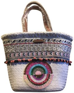 Nicole Lee New With Straw Tote Colorful Tote Colorful Shopper White Beach Bag