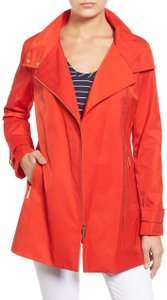 MICHAEL Michael Kors Gold Hardware Asymmetrical Zip Stand Collar Poppy Red Jacket