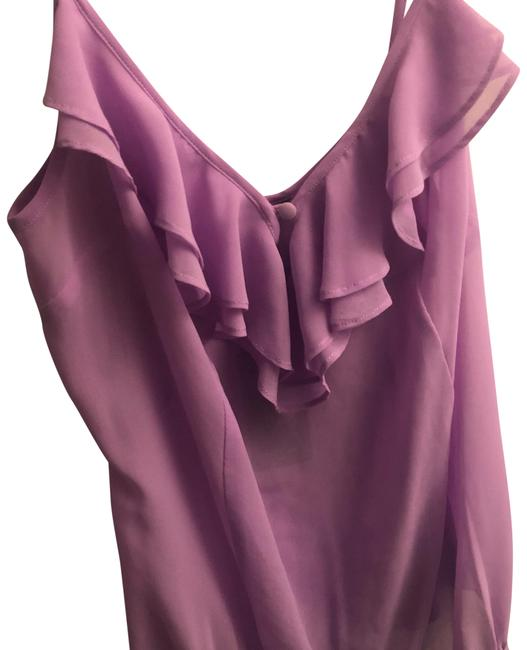 Item - Lilac Sl Pleated Ruffle Body Suit Tank Top/Cami Size 6 (S)