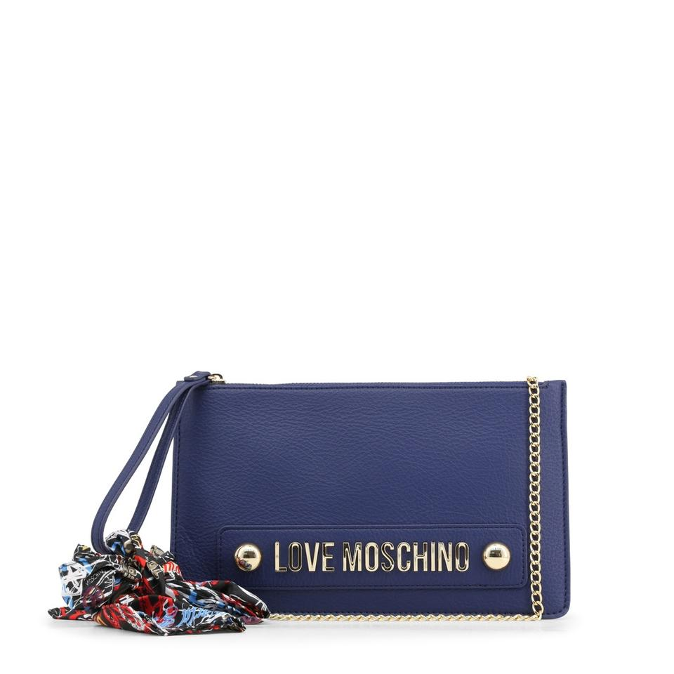 Clutch Leather Synthetic Moschino Blue Love Z7qCUC