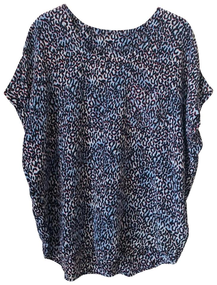 17b49b260266 Joie Blue Animal Print Silk Dolman Medium Blouse Size 10 (M) - Tradesy
