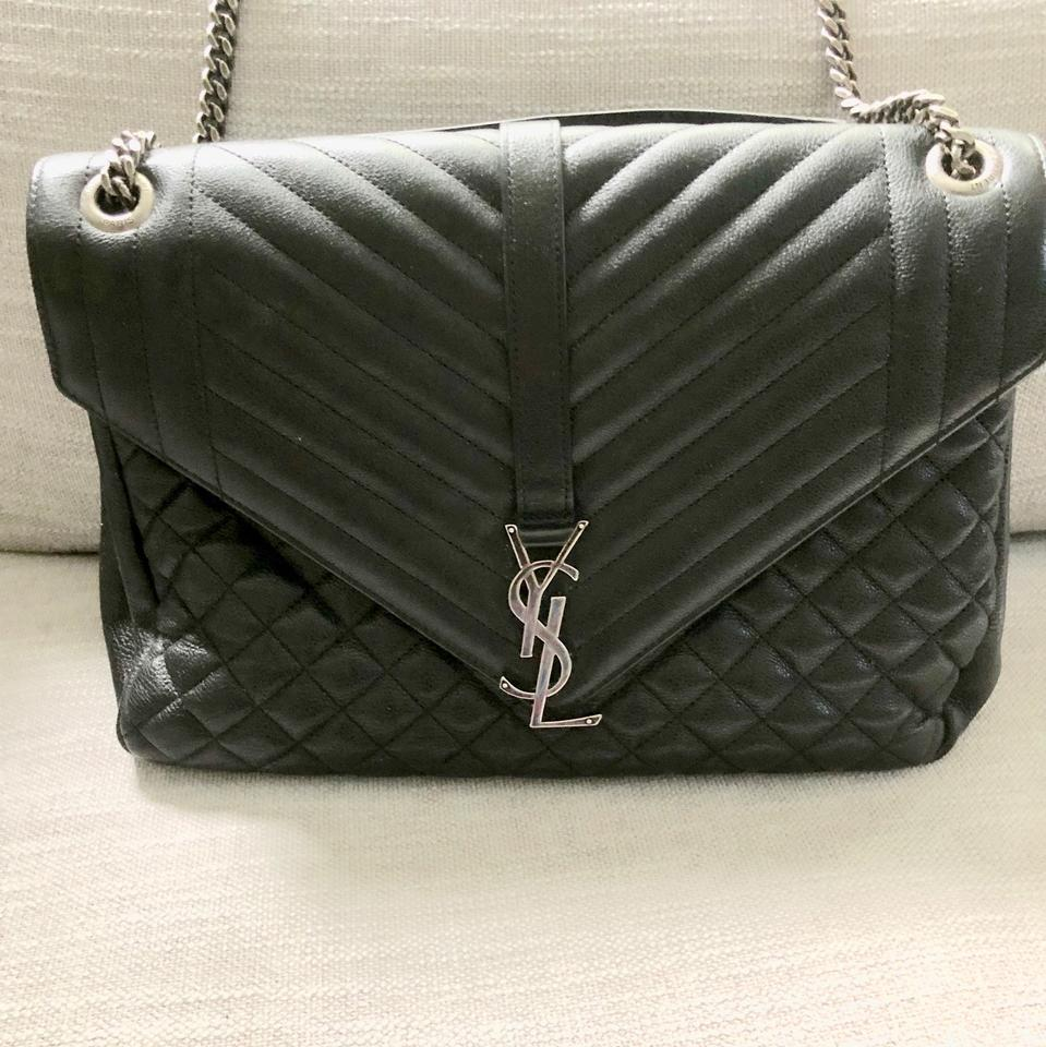 Saint Laurent Ysl Yves Monogram Large Slouchy Mix Matelasse (Nero) Shoulder  Black Leather Cross Body Bag 0a3a134044b24