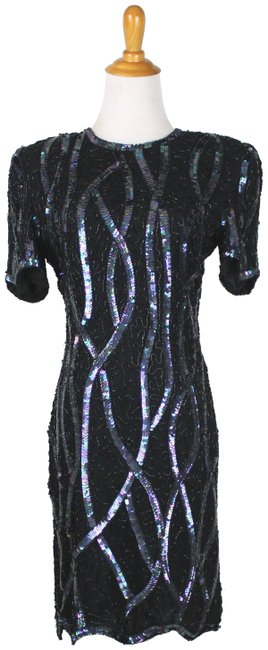 Item - Black 1930's Deco Style Glass Beaded and Sequined Short Formal Dress Size Petite 8 (M)