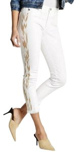 AG Adriano Goldschmied Embroidered Embellished Capri/Cropped Denim-Light Wash